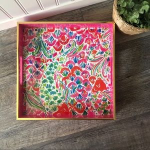 Lily Pulitzer | Pink Floral Square Tray w/ Handles